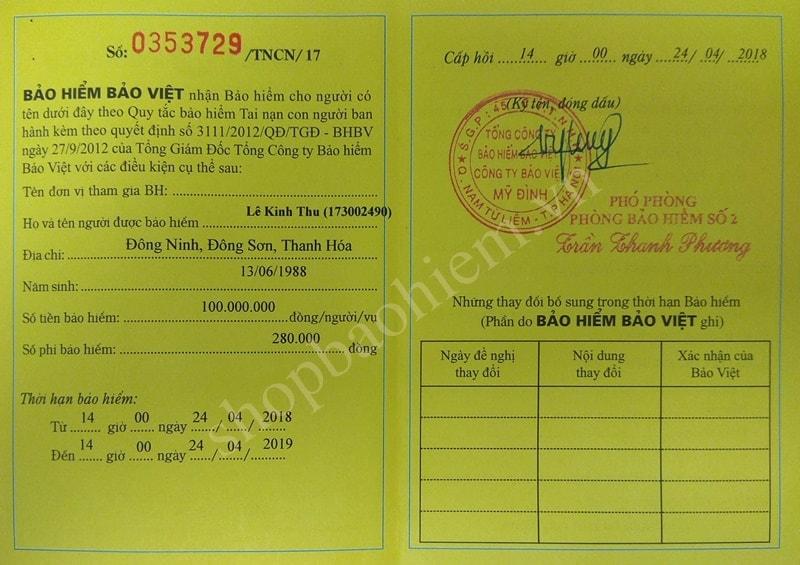 Chứng nhận bảo hiểm tai nạn con người Bảo Việt